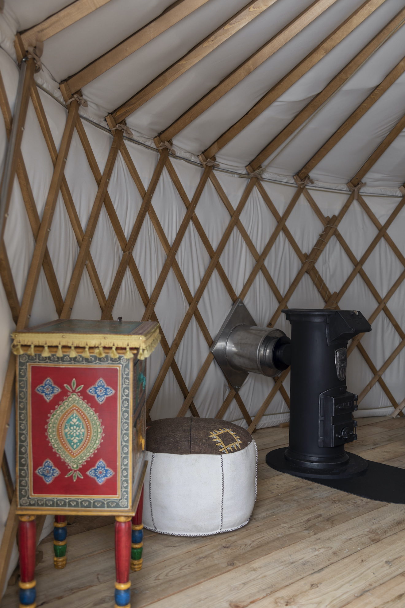Yurt with fireplace